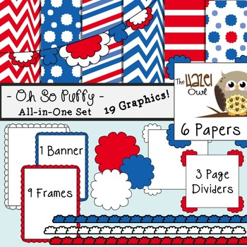 All-in-One Set: Oh So Puffy 8 {Digital Papers, Frames, Page Dividers, & Banner}