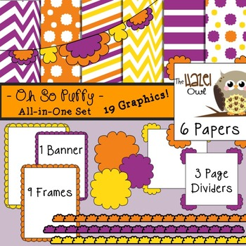 All-in-One Set: Oh So Puffy 9 {Digital Papers, Frames, Page Dividers, & Banner}