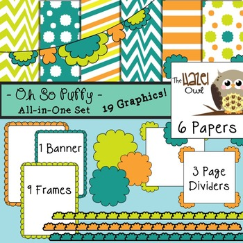 All-in-One Set: Oh So Puffy 1 {Digital Papers, Frames, Page Dividers, & Banner}
