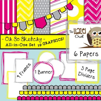 All-in-One Set: So Sketchy 2 {Digital Papers, Frames, Page Dividers, & Banner}