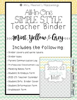 All In One Simple Style Teacher Binder