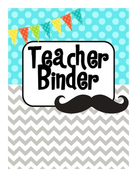 All in One Teacher Binder (Teal/Mustache)