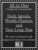 All in One Year Map Planner, Weekly Lesson Planner, and Daily Agenda