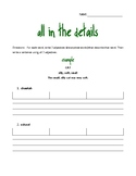 All in the Details Descriptive Writing Worksheet