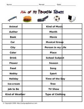 All of my Favorite Things - Vocabulary