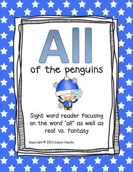"""""""All of the Penguins"""" real vs. fantasy Sight Word Reader"""