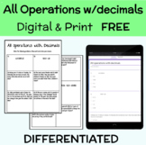 All operations with decimals Digital and Print