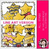 All Star clip art - LINE ART- by Melonheadz