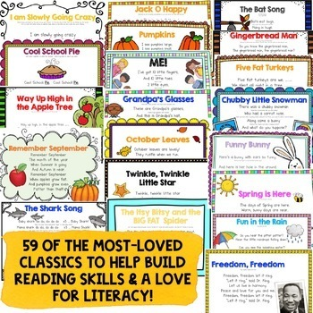 The BEST Kindergarten Poems and Songs! Poem of the Week for the whole year!