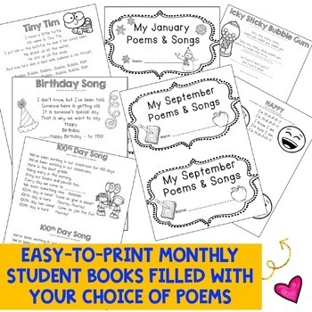 All the BEST Poems & Songs for Primary Students! Poem of the Week ! EDITABLE