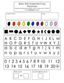 Preschool skill assessment form & flashcards (shapes, colors, letters, numbers)