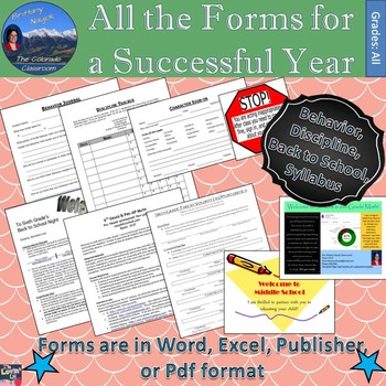 All the Classroom Forms for a Successful Year - 220 Files +