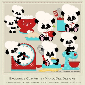 All the Fixins Panda's in the Kitchen Clip Art Graphics