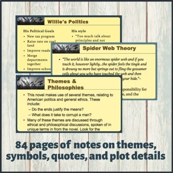 All the King's Men Guided Reading Notes - AP Literature