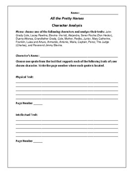 All the Pretty Horses Character Analysis Activity - Cormac McCarthy