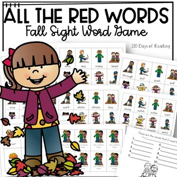 All the RED WORDS Fall Festival Game for Sight Word Fluency