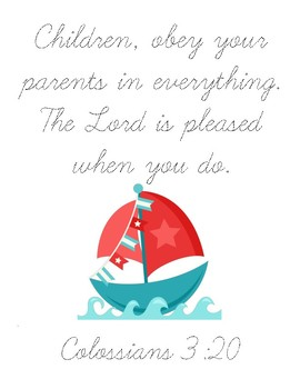 All the Secrets of the World Bible Verse Printable (Colossians 3:20)