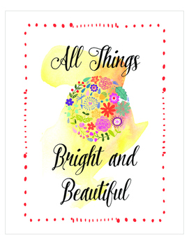 All things bright and beautiful print set, Christian Religion, Home School