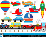 All transportation Set Clipart Digital Clip Art Graphics 47 images cod94
