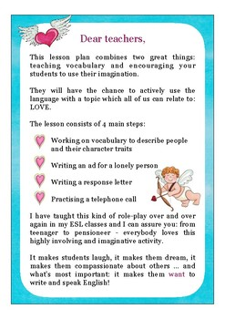 esl love lesson plan