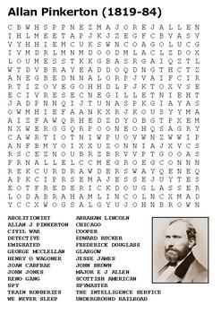 Allan Pinkerton Word Search