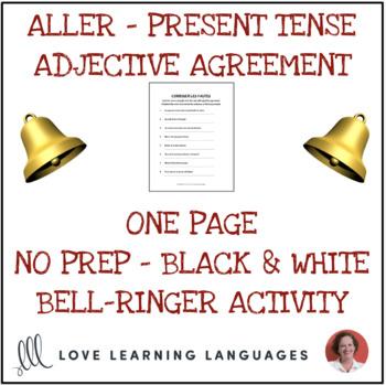 Aller and Descriptive French Adjectives- Correct the mistakes -No prep printable