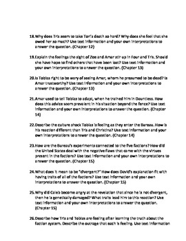 Allegiant (Divergent #3) Extended Response Prompts