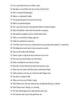 Allegiant Reading Check Test/Quiz
