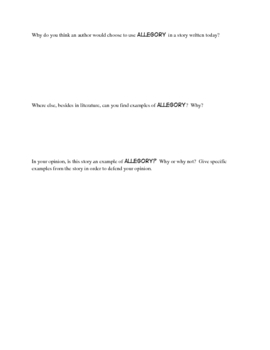 Allegory: Worksheets on a Literary Device for ANY BOOK