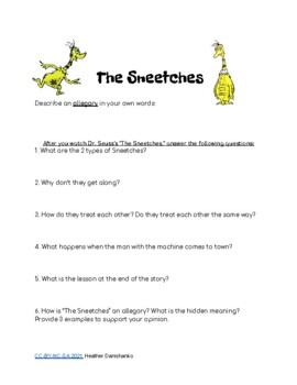 Allegory Activity Based On Dr Seuss S The Sneetches By Msdanishanko