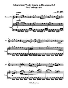 Allegro from Violin Sonata in Bb Major, K.8 for Clarinet Solo