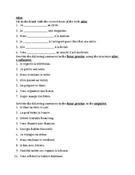 Aller & Aller + infinitive worksheet 2