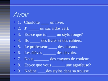Aller Avoir Être Faire French verbs power point