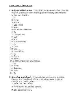 Aller Avoir Être Faire French verbs worksheet 2