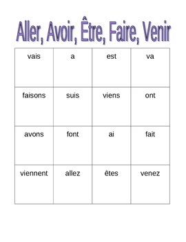 Aller Avoir Être Faire Venir French verbs Bingo game