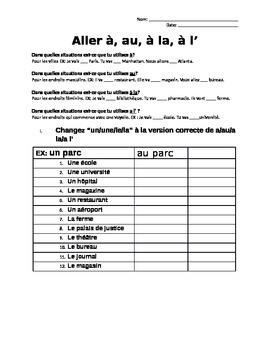 Aller (a/a la/au/aux) Worksheets