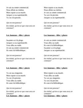 Endroits (Places in French) Aller Jumeaux Speaking activity