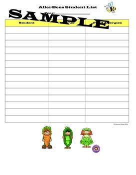 AllerBees ~ Student List for Small Counseling Group