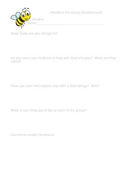 Allerbees ~ Food Allergy Awareness with Pre and Post Student Questions