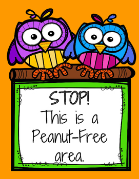 Allergen and Nut Free Classroom Signage