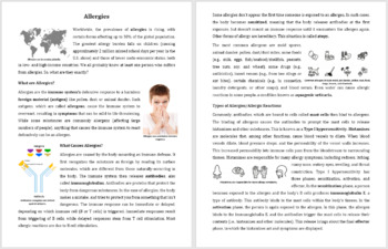 Allergies Reading Comprehension Article - Grade 8 and Up