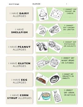 Allergies chart (in English) activities included! original artwork!
