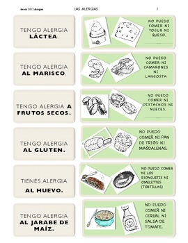 Allergies chart (in Spanish) original artwork! activities included!