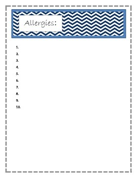 Allergies page for Binder