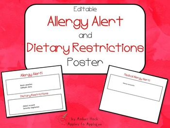 Allergy Alert and Dietary Restrictions Poster