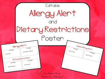 Allergy Alert and Dietary Restrictions Poster - Dual Classes
