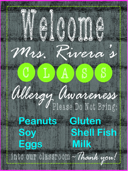Allergy Awareness - EDITABLE Welcome Poster - 18 x 24