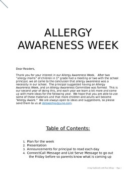 Allergy Awareness Week Unit