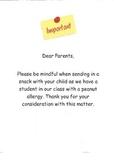 Allergy Notice to Parents