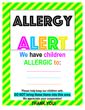 Allergy Sign Editable